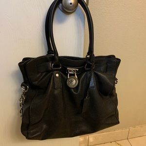 Michael Kors large Hamilton black leather satchel.